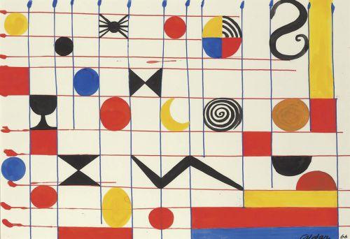 lawrenceleemagnuson:Alexander Calder (1898-1976) Untitled, 1966gouache on paper 74.9 x 109.2cm