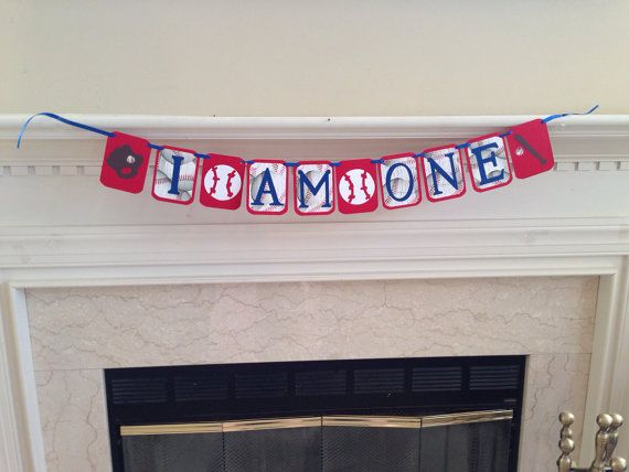 I AM ONE Birthday Banner, Baseball themed first birthday party, rookie of the year first birthday, all star first birthday banner on Etsy, $13.00