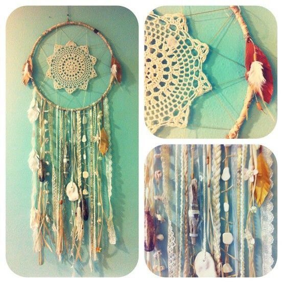 Beautiful, boho chic dream catcher. Metal ring, fabric to wrap around it, a lace doily, and braids, beads to hand down. Tie seashells, charms, etc. on the braids, beads to complete the look!