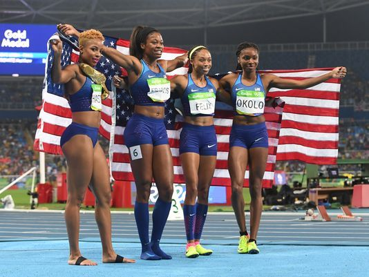 GOLD: US women, Natasha Hastings, Phyllis Francis, Allyson Felix and Courtney Ovolo, win sixth straight Olympic gold in women's 4x400 relay #Rio2016