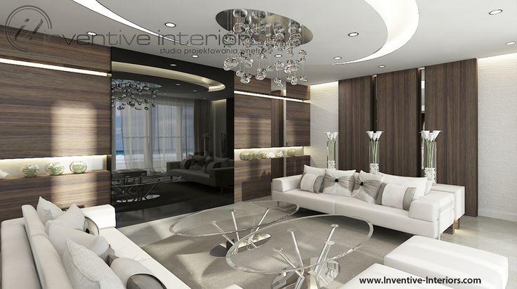 Projekt salonu Inventive Interiors - jasny luksusowy salon - marmur i drewno w salonie
