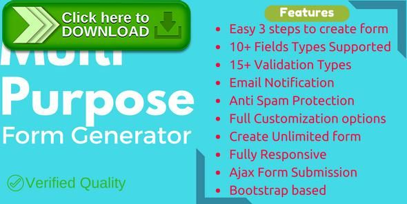 [ThemeForest]Free nulled download Multi-Purpose Form Generator (Contact forms, Feedback forms, event registration, and many more) from http://zippyfile.download/f.php?id=49415 Tags: ecommerce, ajax form, appointment form, bootstrap form generator, call back forms, contact form, database forms, download forms, email form, feedback forms, form builder, form fields, php forms, recaptcha forms, responsive form, smtp email