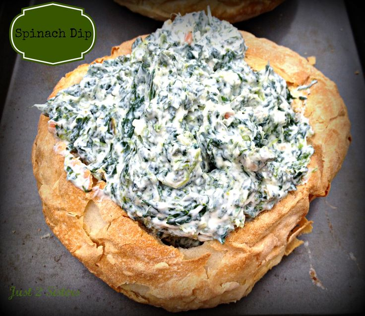 Spinach Dip Bread Bowl Recipe - Just 2 Sisters