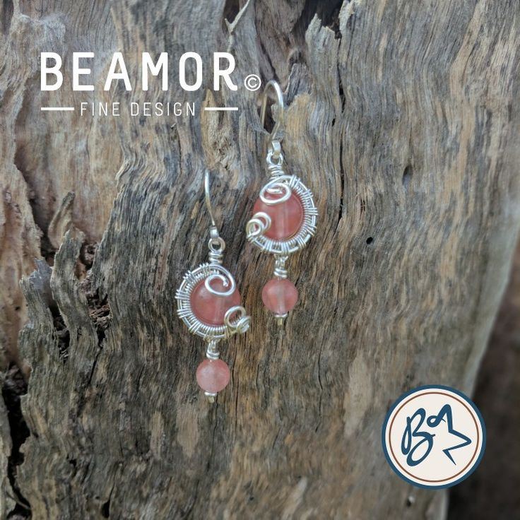 Cherry Quartz weave wrapped earrings. Available in many stones. Customisable.  #cherryquartz #gemstoneearrings #handmadeearrings #etsystore #etsy #beamorfinedesign #findamaker www.etsy.com/shop/beamorfinedesign
