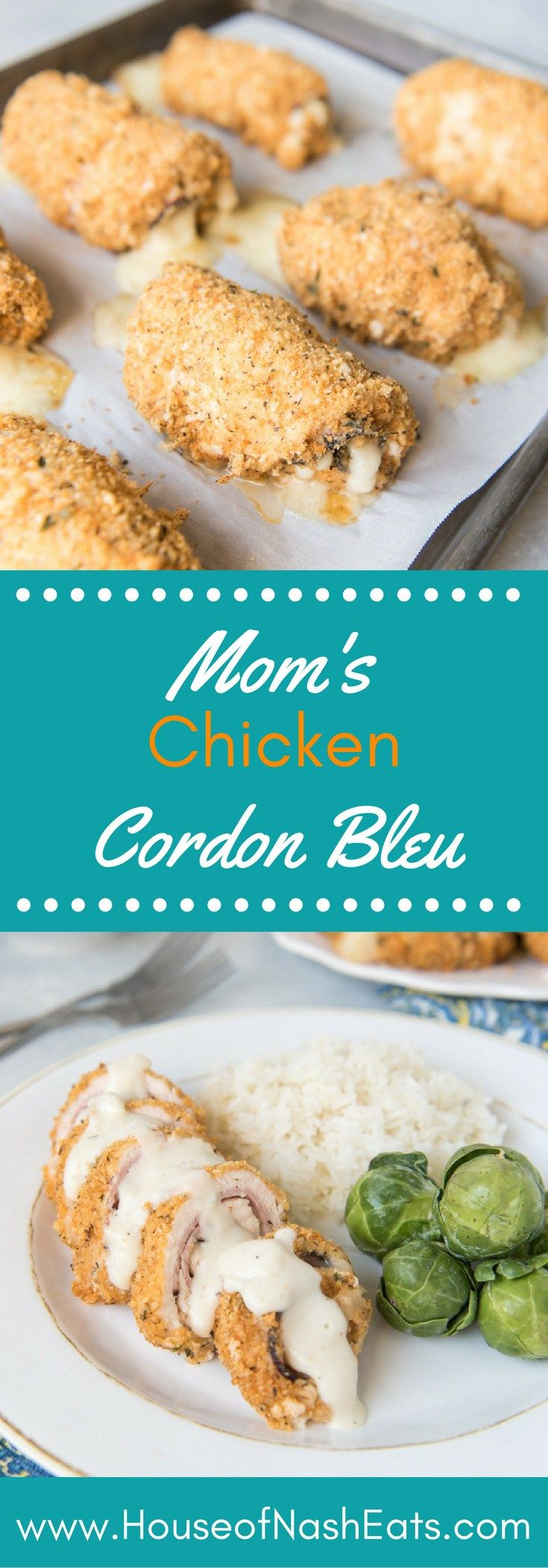 This easy Chicken Cordon Bleu has moist chicken, rich ham, and Swiss cheese that gets breaded with a garlic, herb and cheese breading and served with an easy savory sauce, just like my mom makes it. You're going to love it!