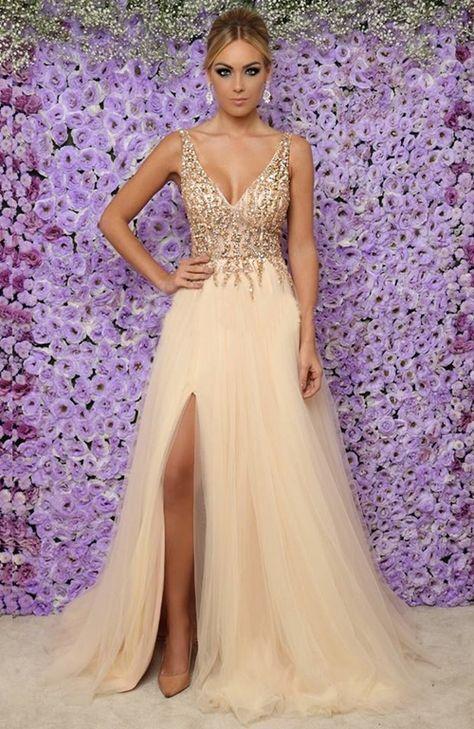 5c29eda52 Seleção de vestido longo dourado para formatura | Formatura in 2019 |  Pinterest | Dresses,