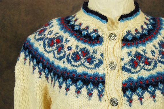 STOREWIDE SALE vintage Norwegian Cardigan - 60s Wool Sweater - Blue and Ivory Fair Isle Sweater SZ L Xl