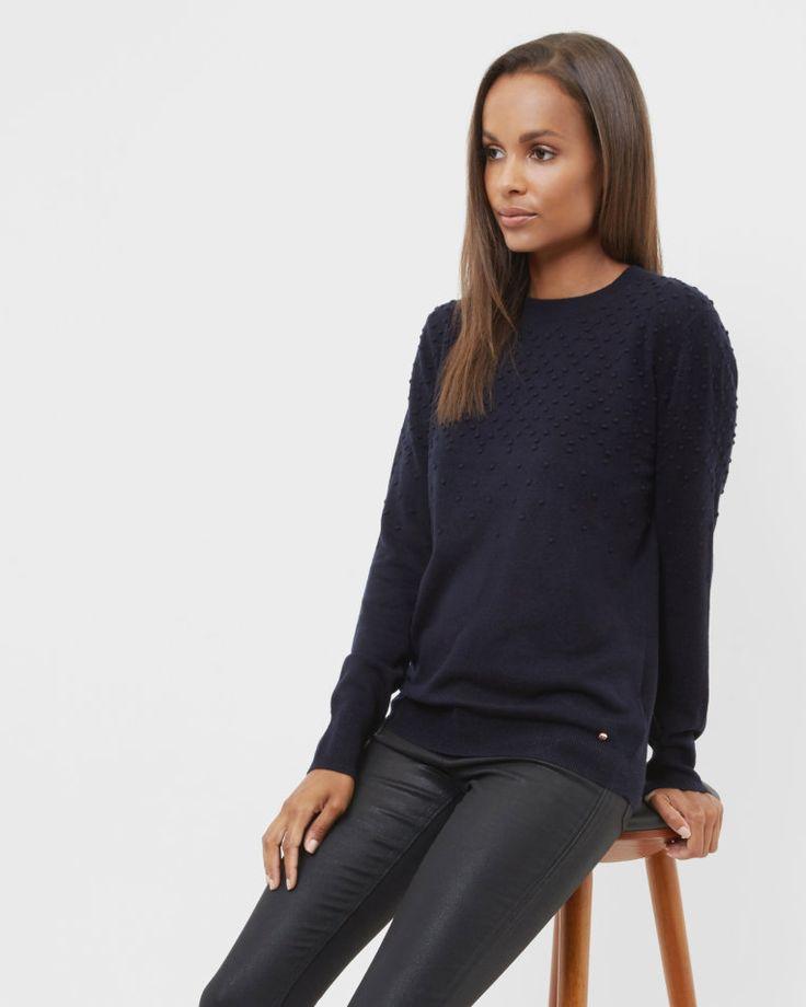 Bobble cashmere-blend jumper - Navy | Outlet | Ted Baker SEU