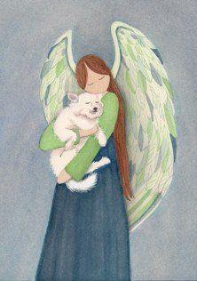 American eskimo dog with angel / Lynch folk art print