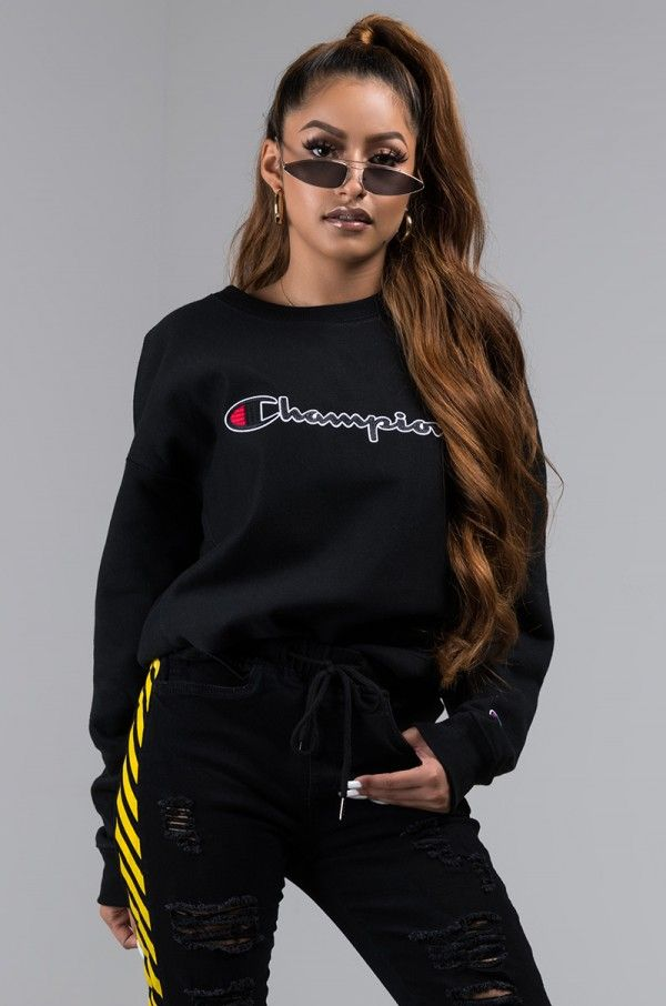 0ebe6976ccf Front View Champion Womens Reverse Weave Crew Sweatshirt With Chainstitch  Logo in Black