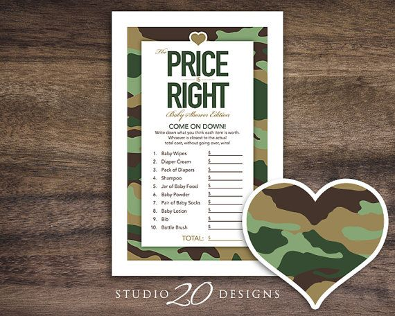 Instant Download Green Camo Baby Shower Games #31B by Studio20Designs. This printable green camouflage Price Is Right Game comes 2-up on a sheet for easier printing. The host will purchase the items on the list BEFORE the party keeping the receipt. Each guest will guess what they think each item costs. Whoever comes closest to the subtotal on the receipt without going over wins....but the mom-to-be goes home with all the items purchased for the game. Great game for a camo theme baby shower!