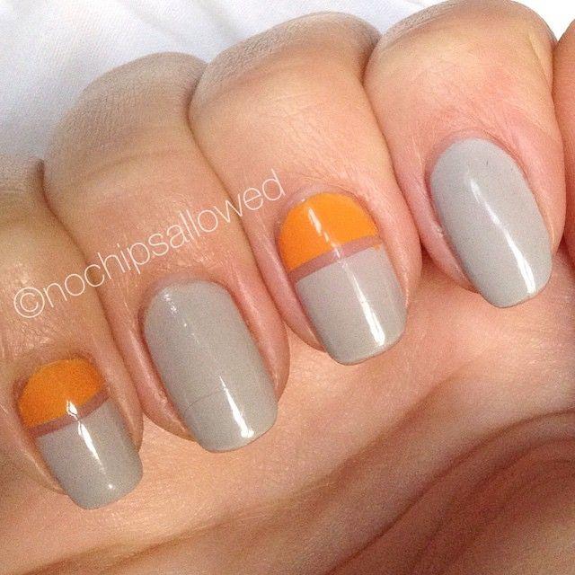 Orange Grey Colour Block Nails With Images Color Block Nails
