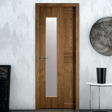 The beautiful dark and moody prefinished Sanrafael Lisa K06V glazed walnut veneered glazed fire door. #designerdoors