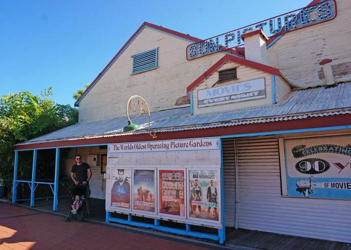 Oldest Cinema in the world, Sun Pictures (old deck chairs and projector) Broome, WA
