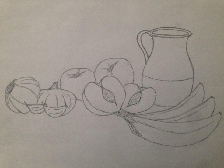 este trabajo consistía e realizar un bodegón y esta imagen en concreto se trata de un boceto previo al trabajo final.