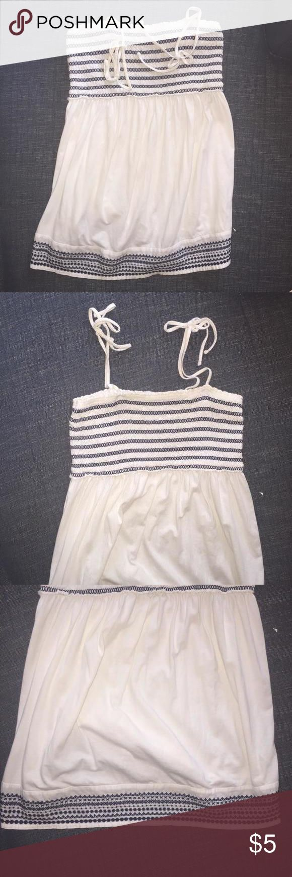 Motherhood Maternity Strappy Tank White tie tank top with navy blue embroidering by Motherhood Maternity. In good condition. Motherhood Maternity Tops Tank Tops