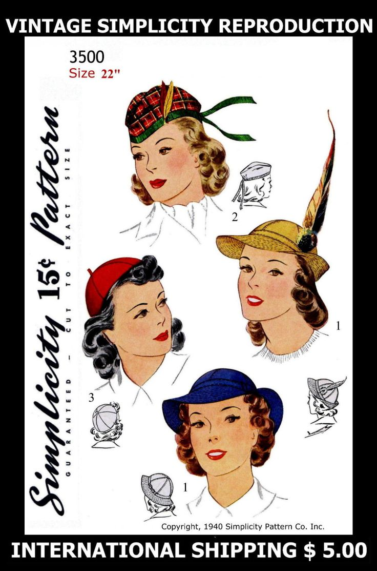 3 Unique vint Scottish Hats 40s Simplicity 3500 Millinery Fabric Sew Pattern 22"