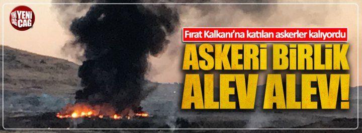 Kilis'te askeri birlikte yangın