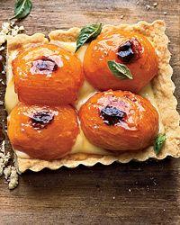 Apricot-and-Basil Shortbread Tart | Roy Shvartzapel, pastry chef at Cyrus in Healdsburg, California, layers roasted fresh apricots atop basil custard to make a gorgeous tart.