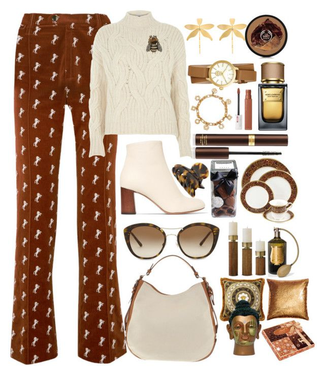 """Chloe Embroidered Velvet Pants"" by pulseofthematter ❤ liked on Polyvore featuring Chloé, Polo Ralph Lauren, Tory Burch, Dolce&Gabbana, Tom Ford, Maybelline, FREDS at Barneys New York, Cire Trudon, Versace and Burberry"