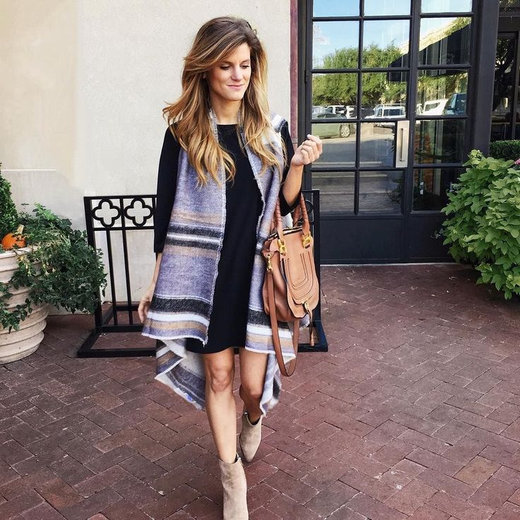 Striped knit vest+black swing dress+beige ankle boots+cognac crossbody bag. Fall Casual Outfit 2016