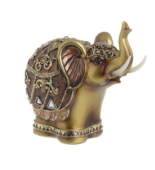 POLYRESIN ELEPHANT IN GOLDEN_ BRASS COLOR 19_5X11X18