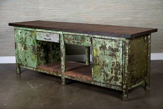 Antique industrial metal and wood buffet originally in belgian industrial fac - Buffet industriel metal ...
