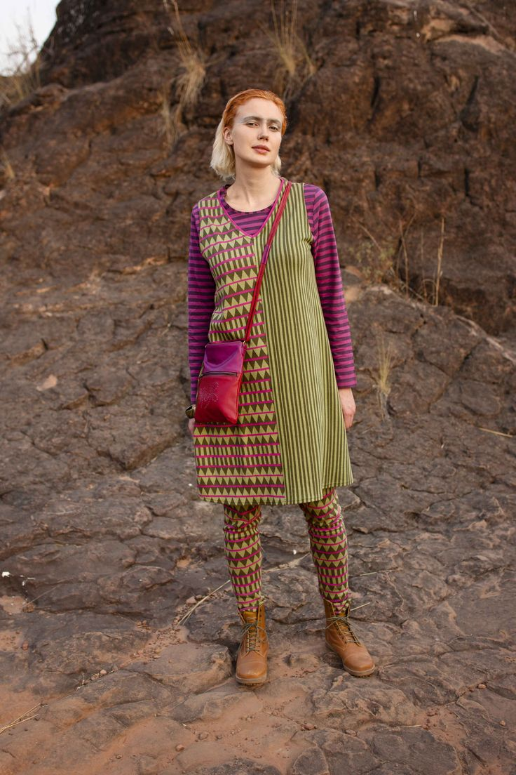 Gudrun Sjödéns Herbstkollektion 2014 - Das Kleid Mandinka fällt durch sein gewagtes grafisches Muster und die kontrastreichen Farbkombinationen auf. Mehr unter: http://www.gudrunsjoeden.de/Kleider--40057d.html