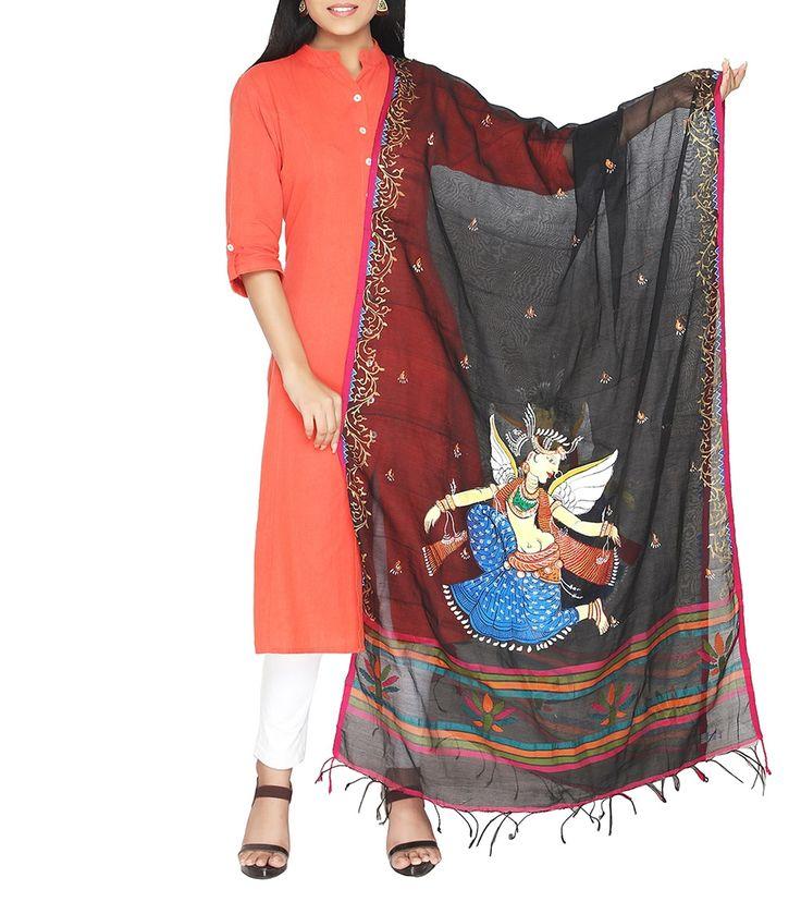 Black Cotton Hand Painted Dupatta