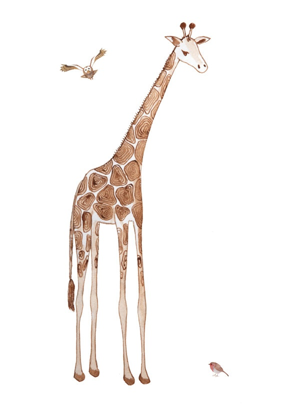 Giraffe and Birds Pen and Ink Drawing Giclee limited by MissDalys, $12.00