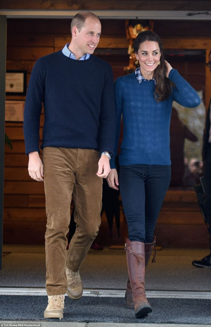 The couple have also ditched ties and stepped out in 'his and hers' ensembles, as they did during their royal visit to Canada in September last year (pictured), when both donned matching blue pullovers - with collars out - smart trousers and boots