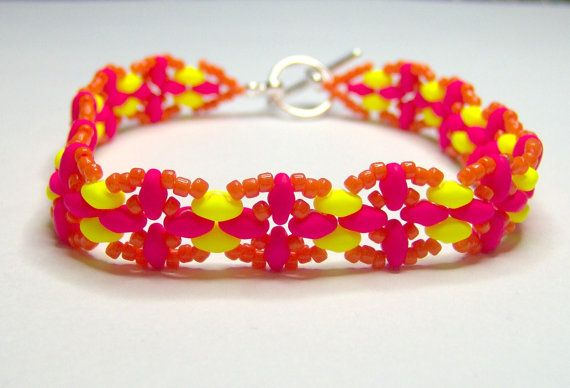 Neon bracelet superduo bracelet super duo by BuzzybeeBeading