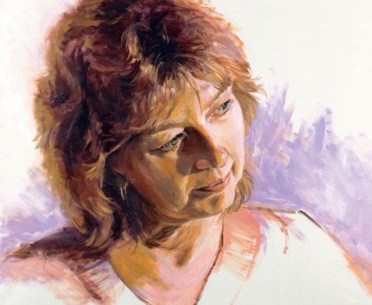 Contemplation, oil by Regina Hona, Subject is fellow artist Raelene Sharp. Painted for our Fusion6 ABOUT FACE exhibition. http://www.reginahona.com