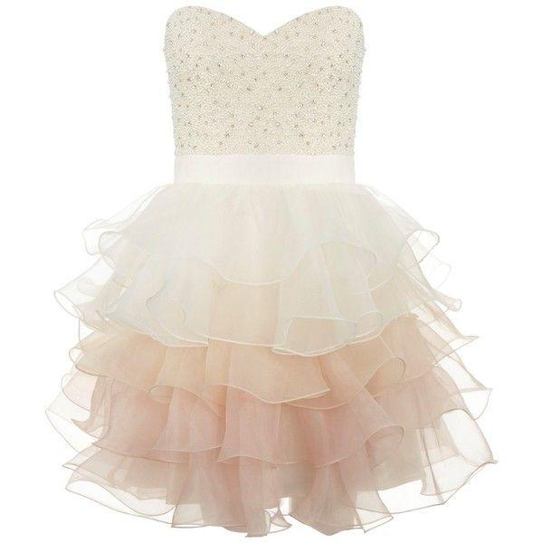 Lipsy V I P Ruffle Prom Dress (385 PLN) ❤ liked on Polyvore featuring dresses, vestidos, short dresses, robe, neutral, bandeau dress, embellished mini dress, short cocktail prom dresses, ruffle dress and embellished dresses