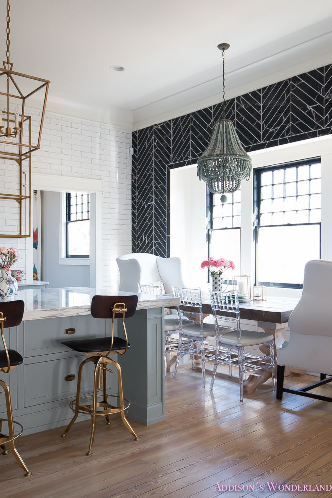 breakfast-room-black-chevron-wall-tile-white-wingback-dining-chairs-wood-table-clear-lucite-chairs-powder-blue-cabinets-16-of-28
