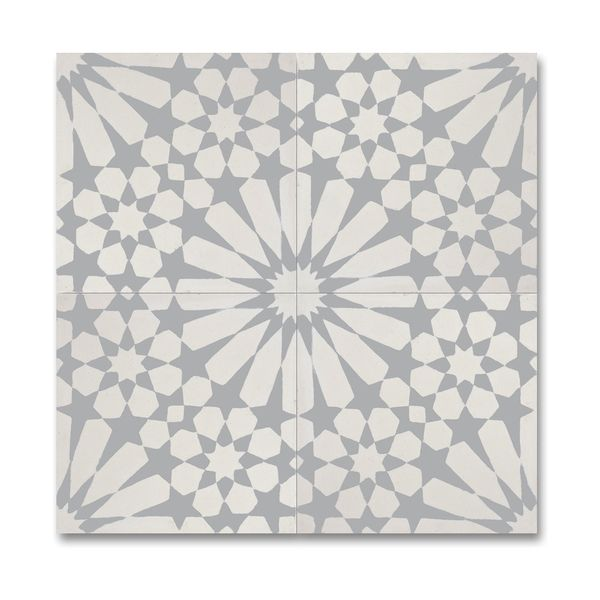 Agdal Grey and White Handmade Cement/ Granite 8 x 8-inch Floor and Wall Tile Pack of 12 , Handmade in Morocco