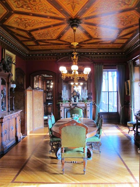 Victorian Houses - Amazing ceiling art design. Dining room. BIG OLD HOUSES: Preservation Triage in Providence