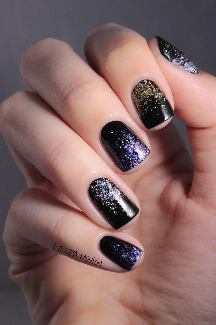 black glitter nails ideas