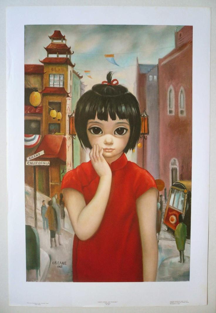 Chinatown Big Eye Girl Litho SF Artist Walter Keane. $19.99, via Etsy.
