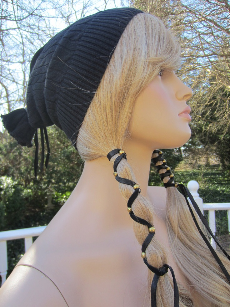 BOHO Hair Jewelry, 2 Black Leather Headband Ponytail Holders. $17.50, via Etsy.