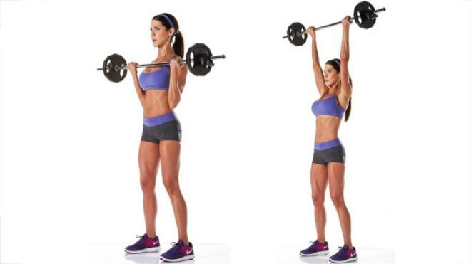 standing barbell shoulder press for women