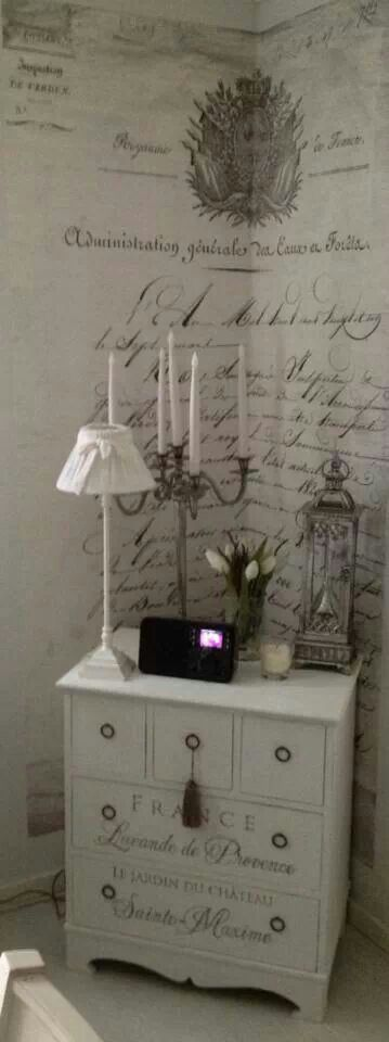 French Shabby Chic Elegance - Scripting in a corner provides an interesting focal point and is so on trend.