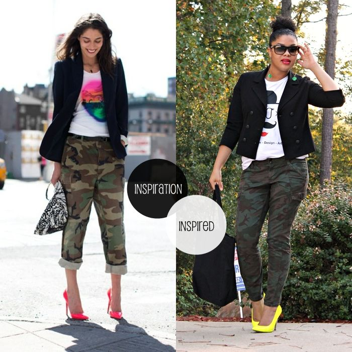 style-me-friday-how-to-wear-camo-pants. Gotta get some yellow pumps or hot pink pumps. I WANT SOME CAMO PANTS!!!