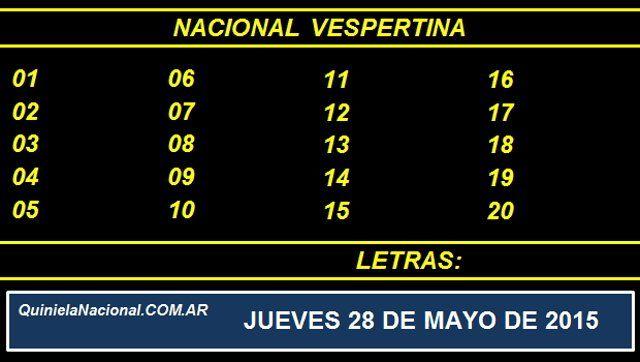 Quiniela Nacional Vespertina Jueves 28 de Mayo de 2015. Fuente: http://quinielanacional.com.ar Pizarra del sorteo desarrollado en el recinto de Loteria Nacional a las 17:30 horas. La jugada Vespertina se efectuó con total normalidad.