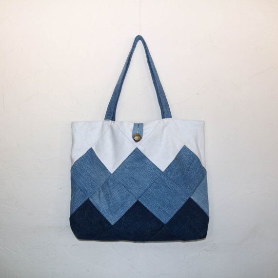 Patchwork denim tote bag patchwork tote patchwork by SewManyScraps More