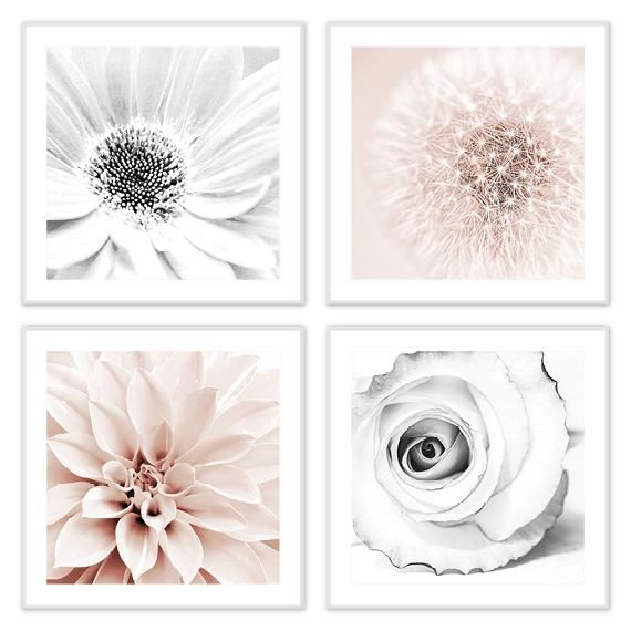 Pink Gray Blush Pink And Gray Floral Artwork Set Of 4 Framed Sizes Up To 36x36 Pink Bedroom Decor Grey Wall Art Pink Grey Wall Art