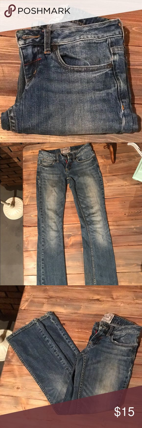 American Rag jeans size 0S boot cut dark wash Awesome pair of jeans by American Rag in excellent used condition. No rips stains etc. Size 0 short. Boot cut. American Rag Jeans Boot Cut