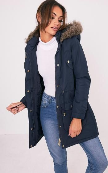 PRETTY LITTLE THING - Abra Navy Faux Fur Trim Hooded Parka, Blue -…