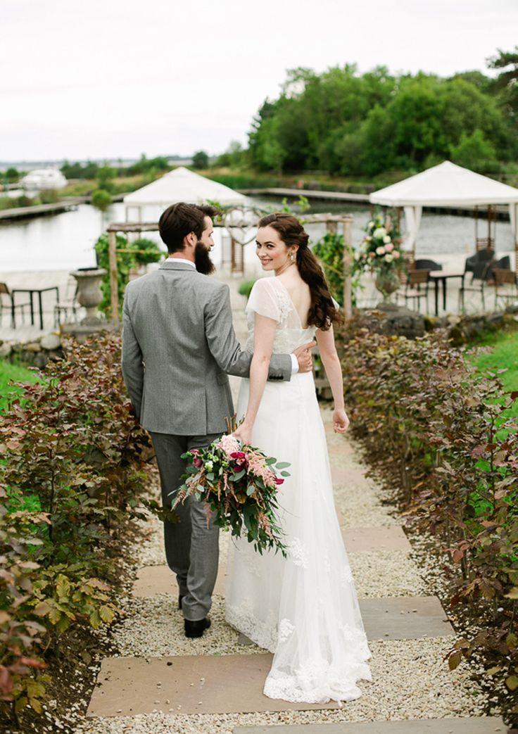 #AppleberryPress Outdoor wedding ceremony, wild flower bouquet, pink wedding, pink wedding flowers, lace wedding dress, bearded groom. Waterside Bridal Inspiration. www.appleberrypress.com