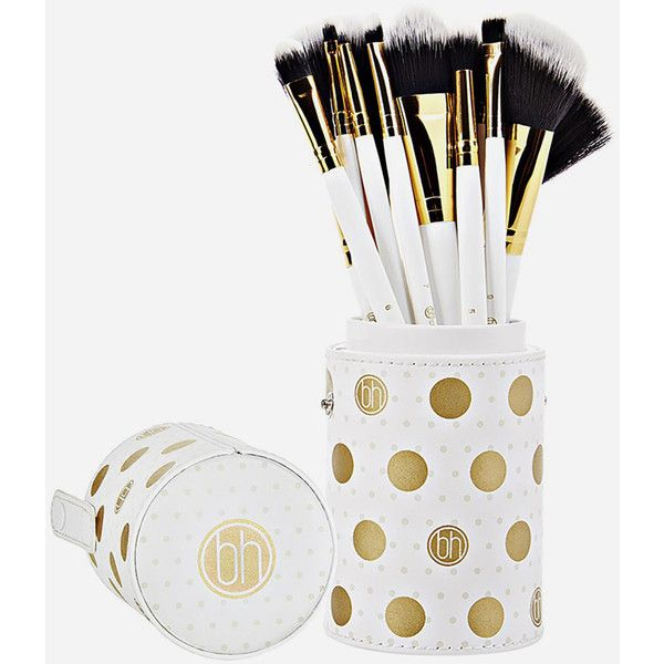 Bh Cosmetics 11 Piece Dot Collection Brush Set (€27) ❤ liked on Polyvore featuring beauty products, makeup, makeup tools, makeup brushes, set of makeup brushes, slanted makeup brush, angled makeup brush, set of brushes and bhcosmetics